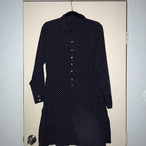 Silk Shirt Dress w/ pleated skirt detailing